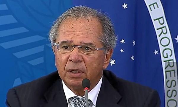 O ministro Paulo Guedes em pronunciamento (Crédito: divulgação)