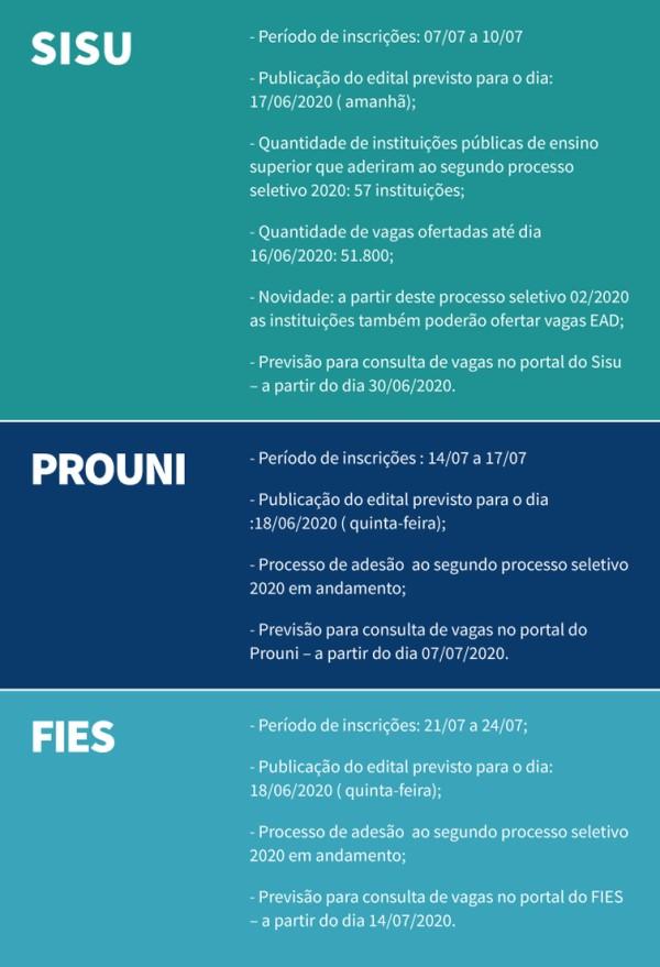 O calendário divulgado pelo Ministério da Educação (Crédito: divulgação)